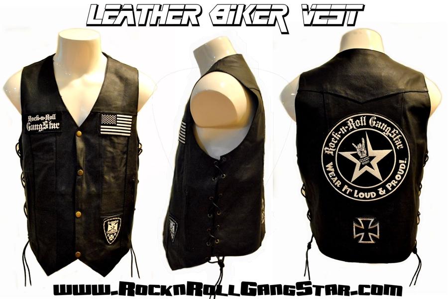 Mens Custom Leather Biker Vest Rock and Roll Heavy Metal ...