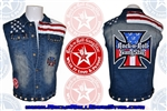 Mens Custom Denim Red White & Blue Biker Vest Rock and Roll Heavy Metal clothing accessories