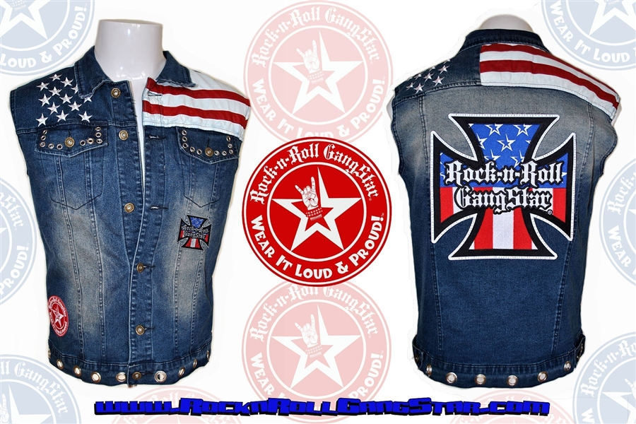 Mens Custom Denim Red White Blue Biker Vest Rock
