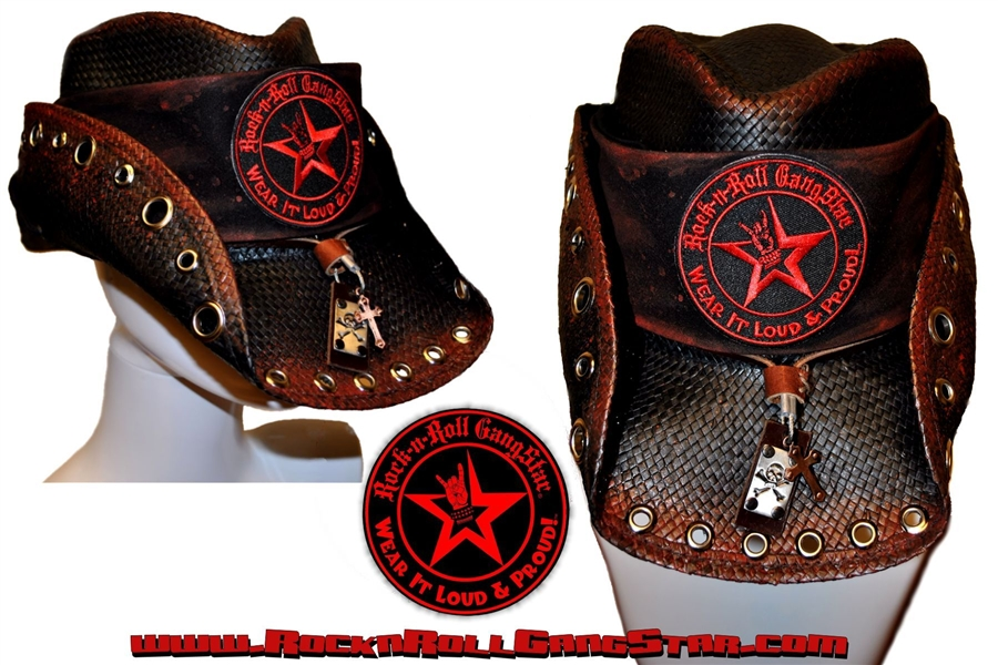 Custom Shapeable Cowboy Hat black with red treatment version 4 Rock and  Roll Heavy Metal hats accessories 9fc8a3611ea