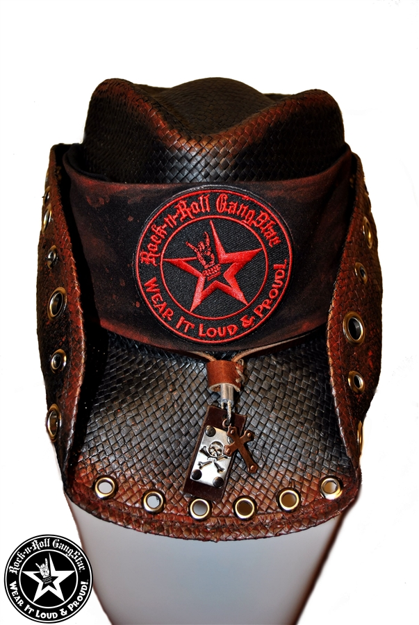 044363ace0053c Custom Shapeable Cowboy Hat black with red treatment version 4 Rock and Roll  Heavy Metal hats accessories