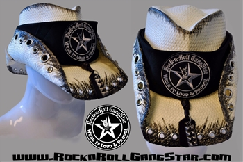 Custom Shapeable Cowboy Hat white with black treatment version 5 Rock and Roll Heavy Metal hats accessories