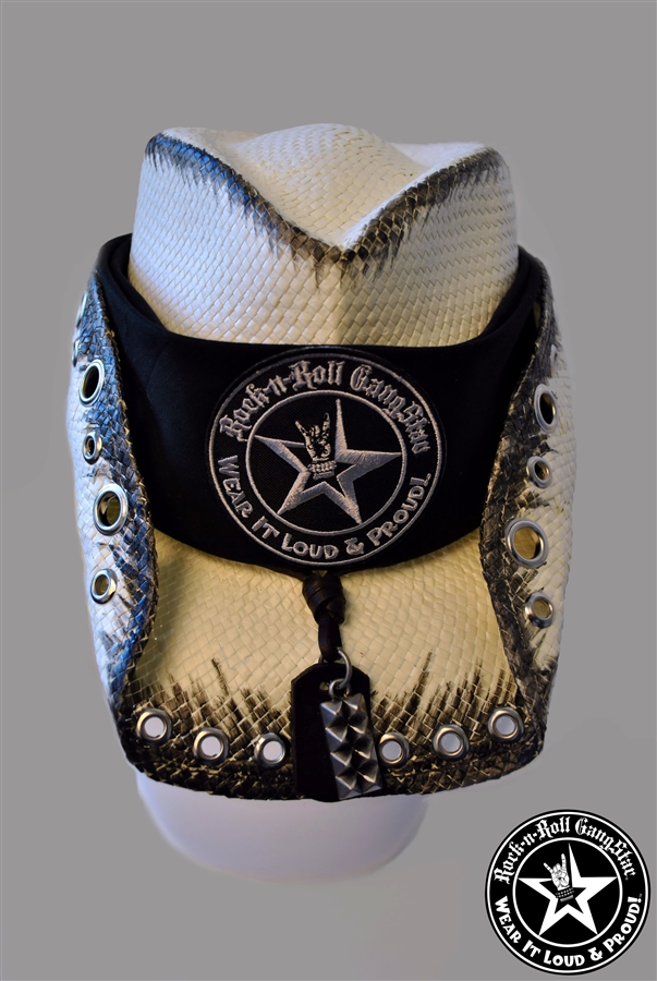 a96a993dadc Custom Shapeable Cowboy Hat white with black treatment version 5 Rock and  Roll Heavy Metal hats accessories