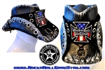 Custom Shapeable Cowboy Hat black version 6 Rock and Roll Heavy Metal hats accessories biker iron cross