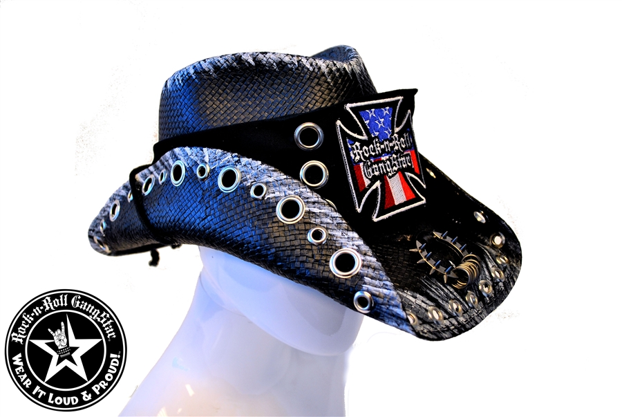 2d8d7adc5b8 Custom Shapeable Cowboy Hat black version 6 Rock and Roll Heavy Metal hats  accessories biker iron cross
