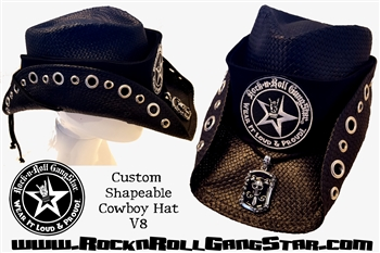 Custom Shapeable Cowboy Hat black version 8 Rock and Roll Heavy Metal hats accessories