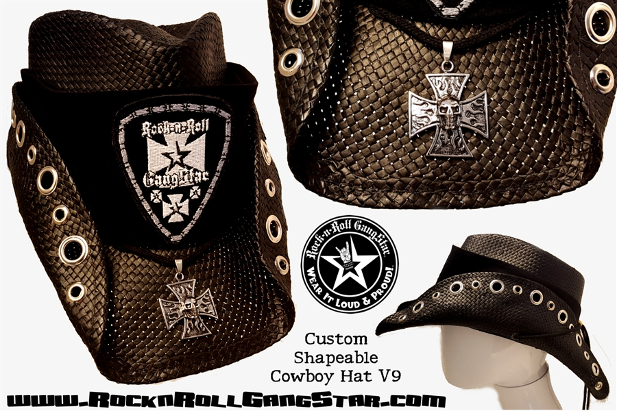 e15d4a12a24 Custom Shapeable Cowboy Hat black version 9 Rock and Roll Heavy Metal hats  accessories