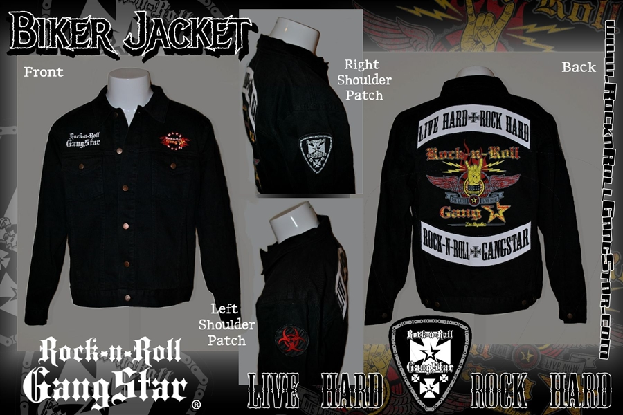 Motorcycle Jacket Patches Large Denim Biker Jacket With Custom Patch Work