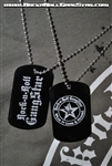 Dog Tag necklace metal laser engraved Rock n Roll GangStar letters and logo