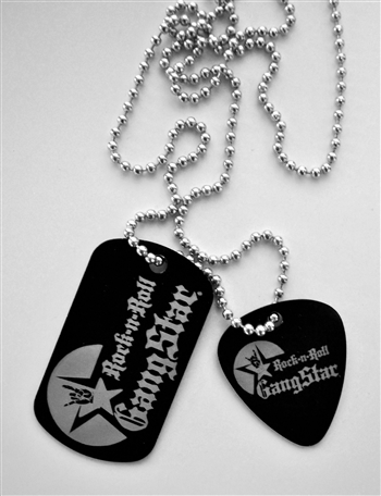 Dog Tag Guitar Pick pendant necklace metal laser engraved Rock and Roll Heavy Metal Biker accessories lifestyle Rock n Roll GangStar
