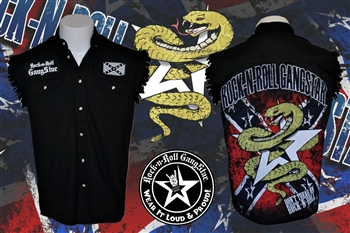Don't Tread On Rock n Roll denim cut off sleeveless shirt Rock n Roll Heavy Metal clothing shirt Rock n Roll GangStar