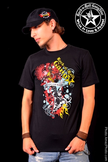 Guitar Cross Mens T-Shirt