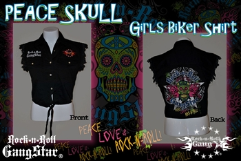 Peace Skull Girls Denim Cut Off Biker Shirt
