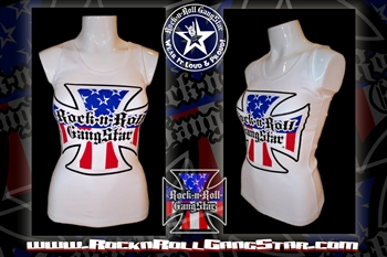 Red White & Blue Iron Cross Boy Beater Tank Top Biker Motorcycle Rock n Roll Heavy Metal girls t shirt