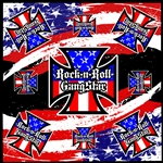 Red White & Blue Iron Cross Bandana Rock and Roll Heavy Metal Biker accessories lifestyle Rock n Roll GangStar