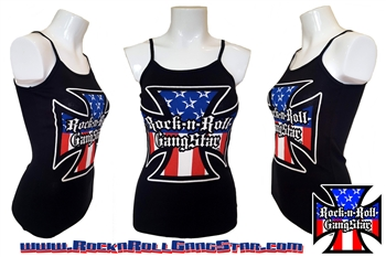 Red White & Blue Iron Cross Spaghetti Strap Tank Top Biker Motorcycle Rock n Roll Heavy Metal girls t shirt Rock n Roll GangStar