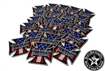 Red White & Blue Iron Cross embroidered iron on patches Rock n Roll Heavy Metal accessories Rock n Roll GangStar Rock and Roll Heavy Metal