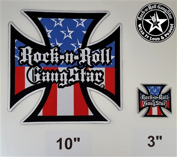 "10"" Red White & Blue Iron Cross embroidered iron on back patch Rock n Roll Heavy Metal accessories Rock n Roll GangStar Rock and Roll Heavy Metal"