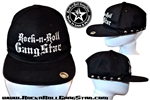 Custom Snap Back Ball Cap Hat with grommet & studs Rock n Roll GangStar lettering Rock n Roll Heavy Metal clothing accessories