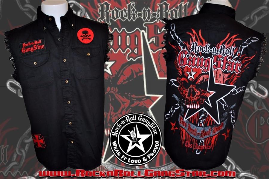 Skull N Chains Denim Cut Off Sleeveless Biker Shirt Rock N