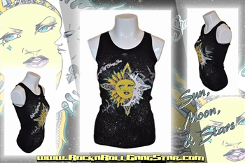 Sun Moon & Stars Boy Beater Tank Top Rock n Roll Heavy Metal girls t shirt