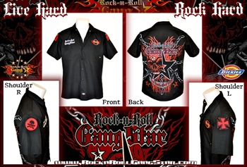 Skull n Chains Custom Dickies Work Shirt Hard Rock Heavy Metal