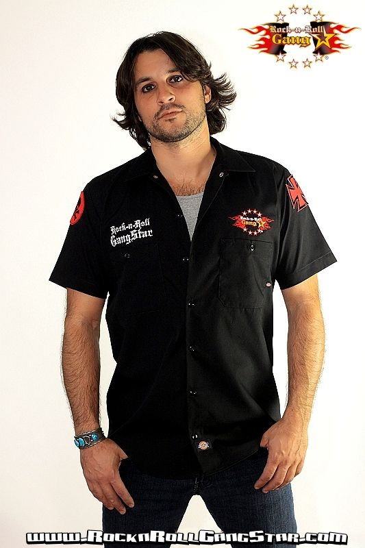 Skull n chains custom dickies work shirt hard rock heavy metal for Embroidered dickies work shirts