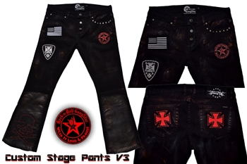 Custom Stage Pants Red Skull with leather & patch work FREE Shipping Rock and Roll Heavy Metal clothing & accessories