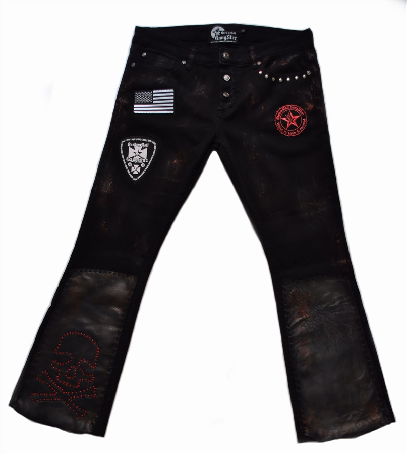 Rock A Gray Hat And Leather Jacket For Fall: Custom Stage Pants Red Skull With Leather & Patch Work