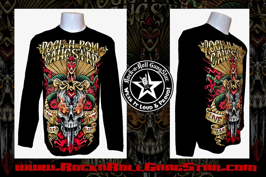 91f9689d8be5c Snakes n Skull Rock n Roll Heavy Metal Mens Long Sleeve T Shirt ...