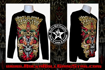Snakes n Skull Rock n Roll Heavy Metal Mens Long Sleeve T Shirt Rock n Roll GangStar