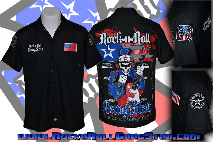 Uncle Sam Custom Dickies Work Shirt Hard Rock Heavy Metal
