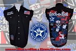 Uncle Sam's Rock Nation denim cut off sleeveless shirt Rock n Roll Heavy Metal Biker clothing Rock n Roll GangStar