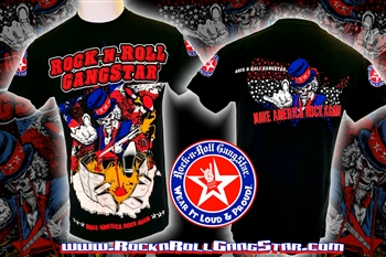 Uncle Sam Make America Rock Again! Rock n Roll Heavy Metal Mens T Shirt Rock n Roll GangStar