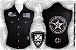 Wear It Loud & Proud! tm denim biker vest with custom patch work silver & black Rock n Roll Heavy Metal biker clothing shirt Rock n Roll GangStar