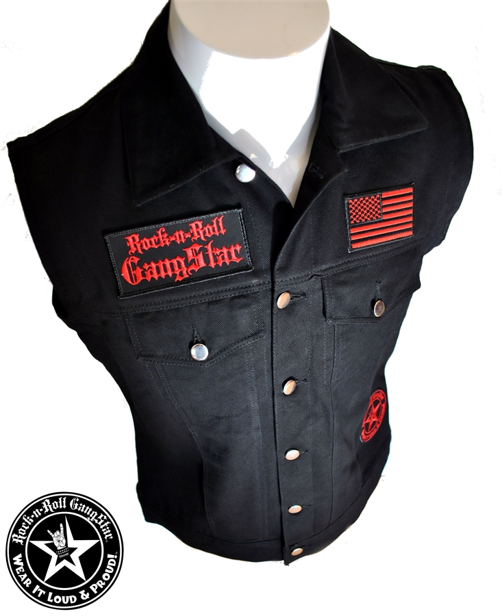 Biker Vest Patches >> Wear It Loud & Proud! tm denim biker vest with custom patch work red & black Rock n Roll Heavy ...