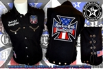 Red White & Blue Iron Cross denim biker vest with custom patch work chains grommets & lacing Rock n Roll Heavy Metal biker clothing shirt Rock n Roll GangStar