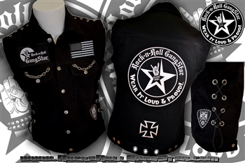 Wear It Loud & Proud! tm denim biker vest with custom patch work chains grommets & lacing work silver & black Rock n Roll Heavy Metal biker clothing shirt Rock n Roll GangStar