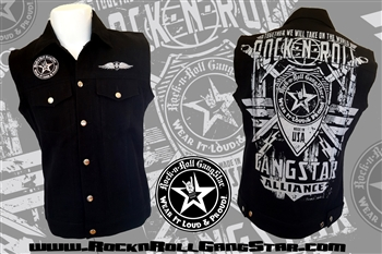 Alliance V2 denim biker vest with custom patch work silver & black Rock n Roll Heavy Metal biker clothing shirt Rock n Roll GangStar