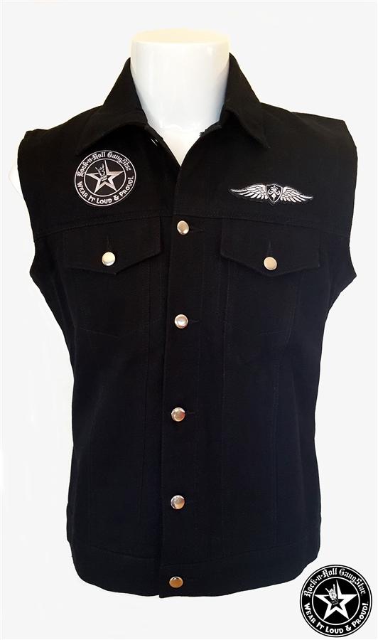 Alliance V2 denim biker vest with custom patch work silver & black Rock n  Roll Heavy Metal biker clothing shirt Rock n Roll GangStar