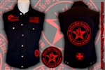 Wear It Loud & Proud! tm denim biker vest with custom patch work red & black Rock n Roll Heavy Metal biker clothing shirt Rock n Roll GangStar