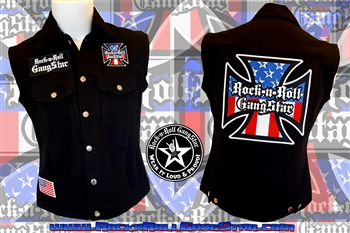 Red White & Blue Iron Cross denim biker vest with custom patch work Rock n Roll Heavy Metal biker clothing shirt Rock n Roll GangStar