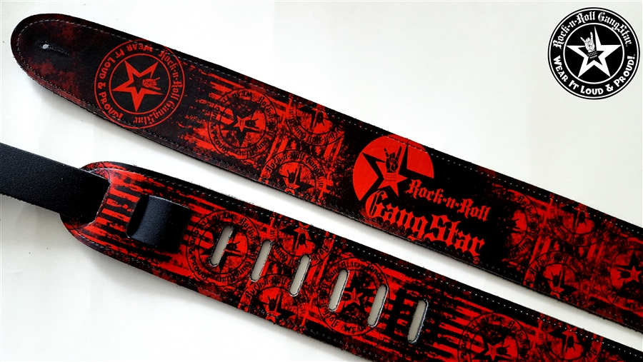 Wear It Loud Proud Tm Red On Black Leather Guitar Strap Rock And Roll Heavy Metal Guitar Accessories