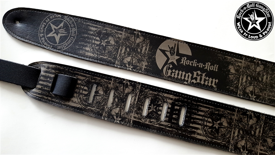 Wear It Loud Proud Tm Gray On Black Leather Guitar Strap Rock And Roll Heavy Metal Guitar Accessories