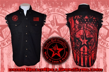 Wear It Loud & Proud! Stars & Stripes denim cut off sleeveless shirt Rock n Roll Heavy Metal Biker clothing Rock n Roll GangStar