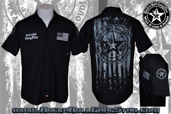 Wear It Loud & Proud! Stars & Stripes Dickies Work Shirt Rock n Roll Heavy Metal Biker clothing Rock n Roll GangStar