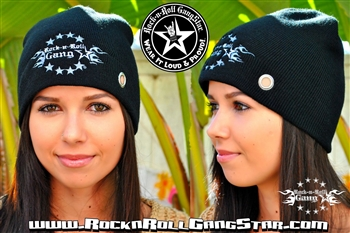 Custom Stretch Beanie with Rock-n-Roll GangStar logo Rock n Roll Heavy Metal hats accessories