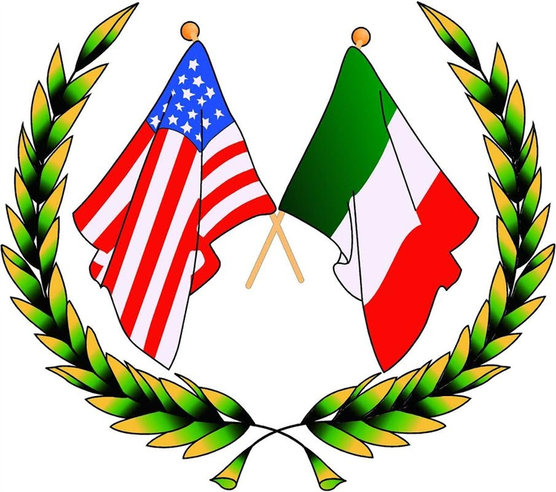 Italian American Crossed Flags With Wreath