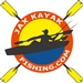 "Jax Kayak Fishing Square 4"" Four Color Decal on White"
