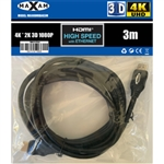 MAXAM 3M HDMI Cable M-M 28AWG Gold ver1.4 (Polybag) Retai3